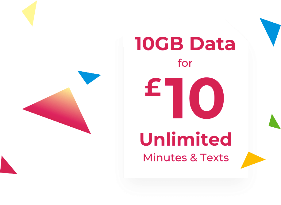 Sim card showing 10GB data for £10, with unlimited texts and calls