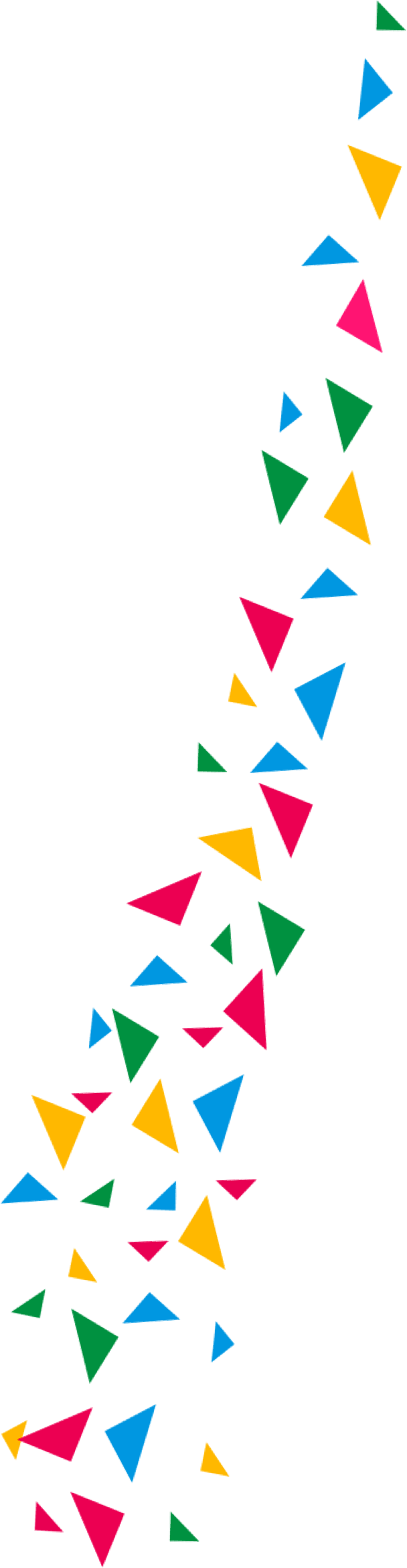 large strip of colourful shards
