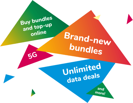 Brand new bundles, buy bundles and top up online, unlimited data deals and more!
