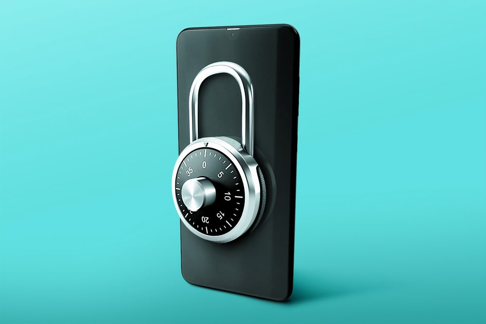 phone with a padlock on it