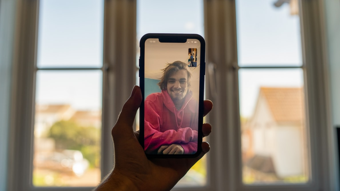 someone talking on a video call